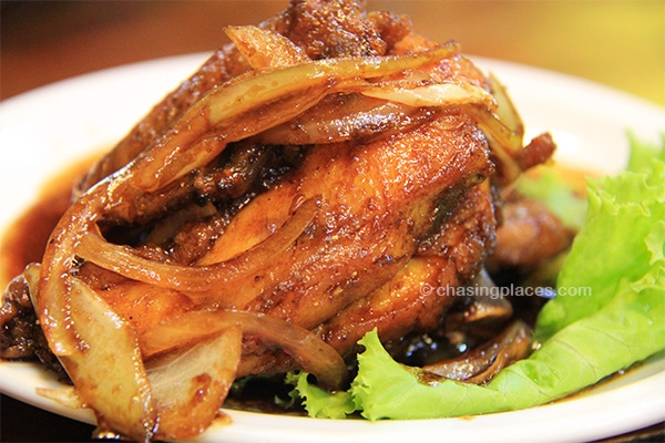Mouthwatering chicken served in Yogyakarta, Indonesia