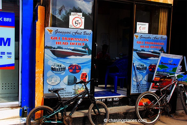 Gili T's fast boat office iis located across the road from the public ticket office