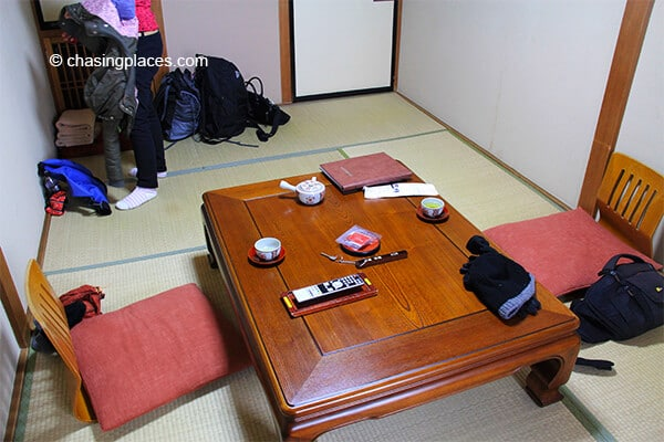 Our ryokan room had a nice low hardwood-table for the freshly made tea