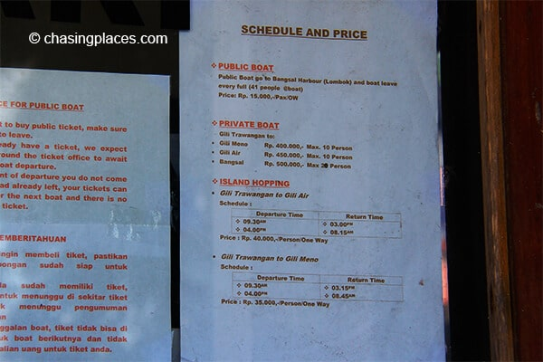 The boat schedule and prices Gili T's boat ticket office