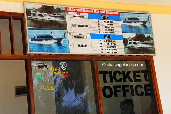 The fast boat times posted at gili T's ticket office
