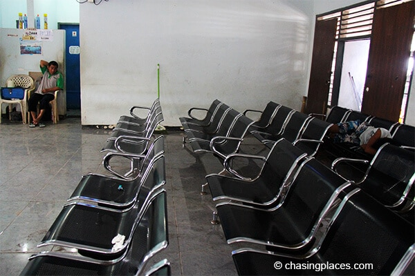 The interior of bangsals ticket office dreary and dirty
