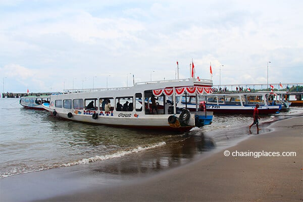 The public boats docked at bangsal harbour lombok