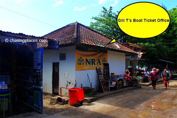The street view of Gili T's boat ticket office