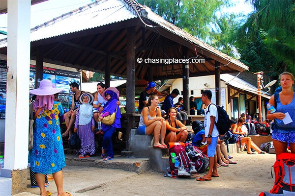 Tourist waiting for the boat to Gili Air and Meno to be ready.