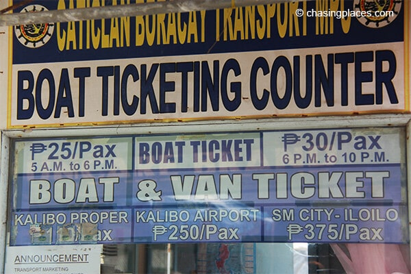 It's easy to find the ticket office on boracay near the pier
