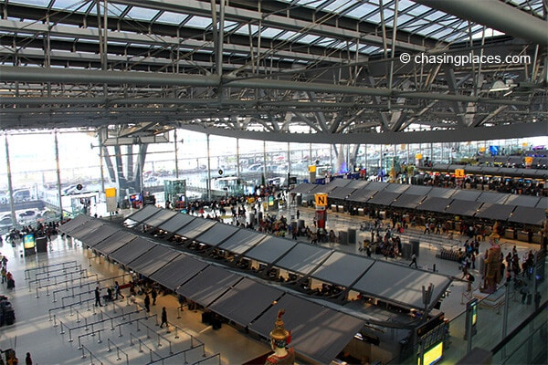 The check -in area in Suvarnabhumi Airport Bangkok Thailand