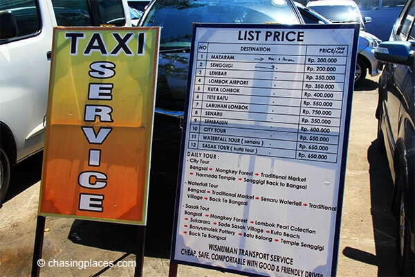 The taxi price list at Bangsal Harbour Lombok Indonesia