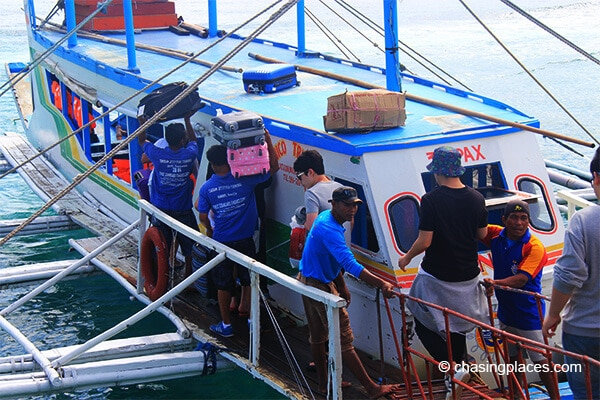 When you leave Boracay for kalibo the boat attendants will help you with your luggage