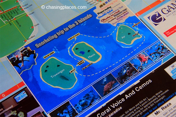 Boat tour map for the Gili Islands