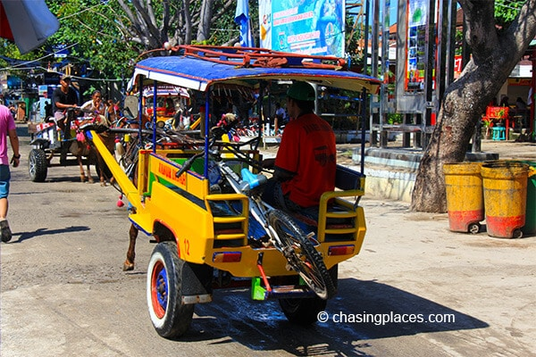 The main transportation on Gili Trawangan aside from bicycles is the horse cart.