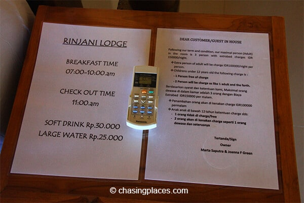 Guest information at Rinjani Lodge