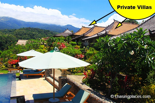 The private villas at Rinjani Lodge are perfectly perched along the foothills of Mount Rinjani