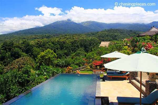 The stunning view from Mount Rinjani Lodge in Senaru Lombok