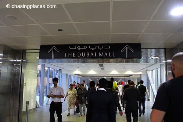 This is the big sign that shows you where the Dubai Mall it while going through the walkway connected to the Dubai Metro.