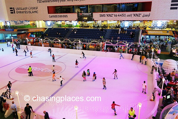 The ice skating rink inside Dubai Mall