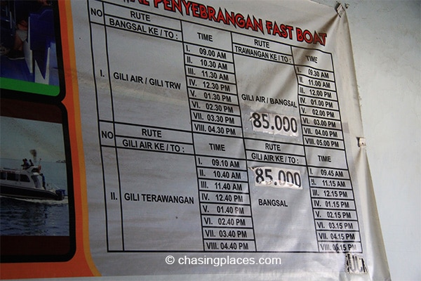 The schedule and costs for public boats going to the Gili Islands