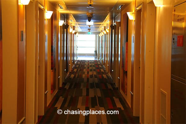 The hallway of the hotel - looks modern and fresh.