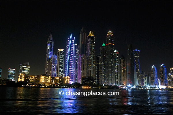 The stunning Dubai Marina skyline at night