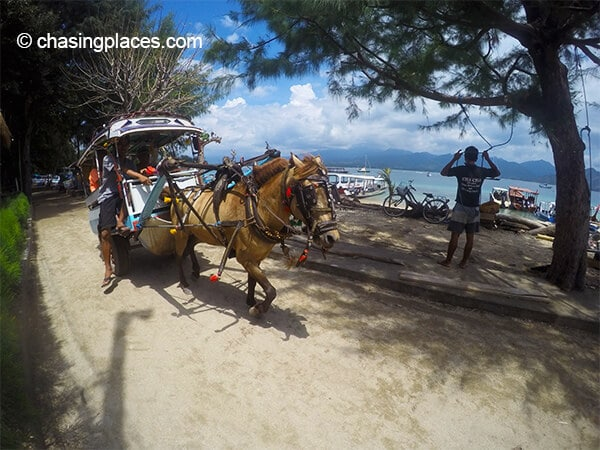 Like Gili Trawangan, there are horse-driven carts on Gili Air