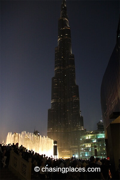 The Dubai Fountain in full swing