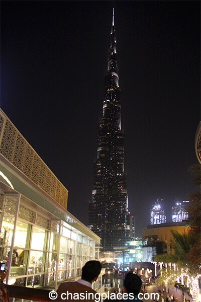 Burj Khalifa from outdoor space of Dubai Mall