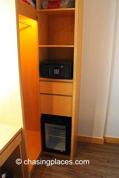There is also a small fridge in the room.